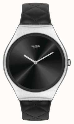 Swatch Skin Irony Black Quilted Black Leather Strap SYXS136