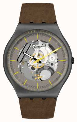 Swatch Skin Irony 42 Silver Skeleton Brown Leather Strap SS07M103