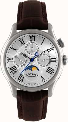 Rotary Mens Stainless Steel Moonphase Brown Leather GS02838/01