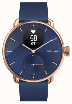 Withings Scanwatch 38mm Rose Gold Blue Dial Hybrid Smartwatch With ECG HWA09-MODEL 6-ALL-INT