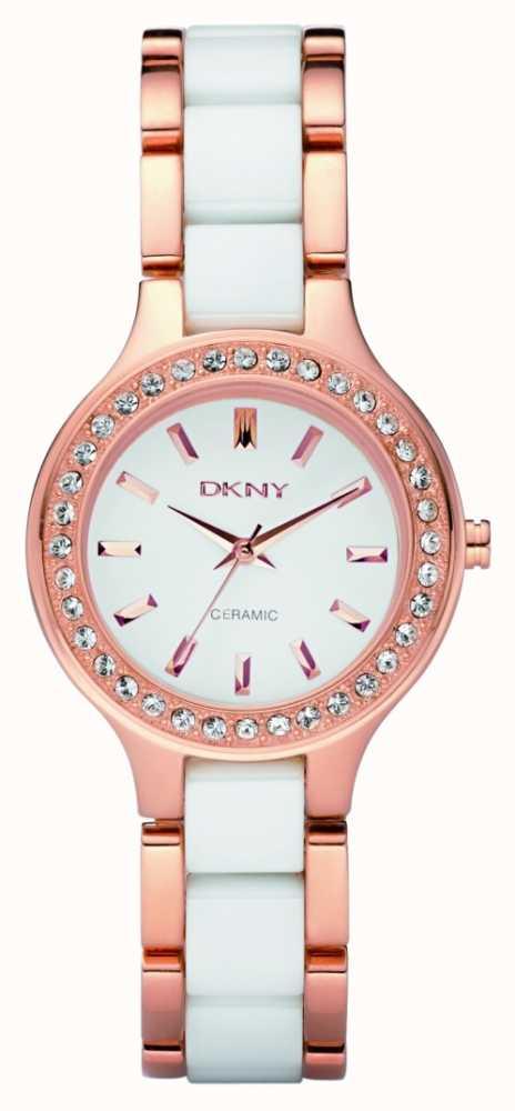 dkny womens ceramic two tone bracelet ny8141