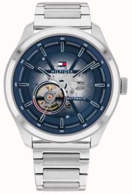 Tommy Hilfiger Men's Oliver Automatic Blue Dial Stainless Steel Watch 1791939
