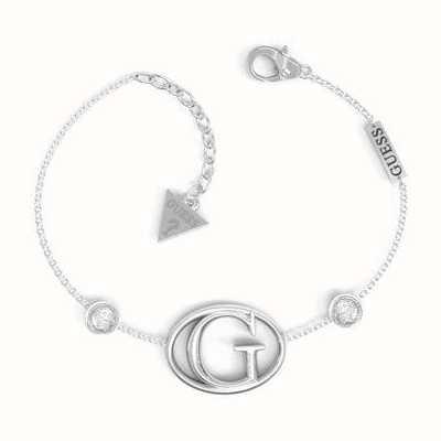 Guess G Logo Crystal Rhodium Plated Bracelet UBB01047RHL