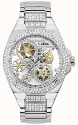 Guess BIG REVEAL Men's Transparent Dial Stainless Steel Watch GW0323G1