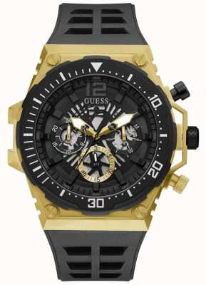 Guess EXPOSURE Men's Black and Gold Rubber Strap Watch GW0325G1