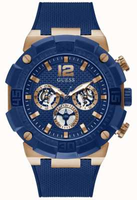 Guess NAVIGATOR Men's Blue and Rose Gold Silicone Strap Watch GW0264G4