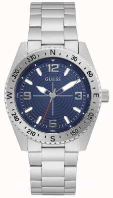 Guess NORTH Men's Blue Dial Stainless Steel Watch GW0327G1
