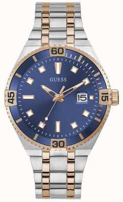 Guess PREMIER Men's Blue Dial Two Tone Bracelet Watch GW0330G3
