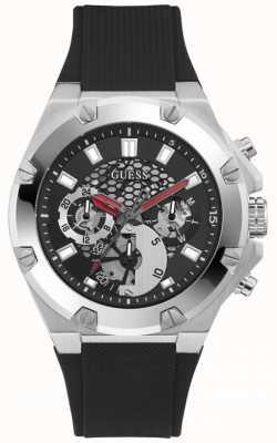Guess THIRD GEAR Men's Black Dial Stainless Steel Rubber Strap Watch GW0334G1