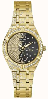 Guess AFTERGLOW Women's Black Crystal Set Dial Gold Stainless Steel Bracelet Watch GW0312L2