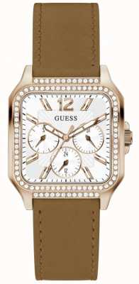 Guess DECO Women's Square Dial Crystal Set Brown Leather Strap GW0309L3