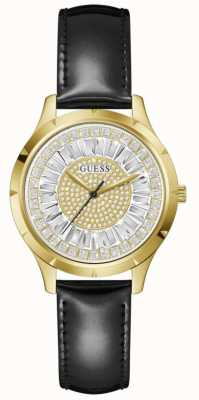 Guess GLAMOUR Women's Crystal Dial Black Leather Strap Watch GW0299L2
