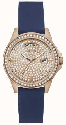 Guess LADY COMET Women's Crystal Set Rose Gold Dial Rubber Strap Watch GW0358L1