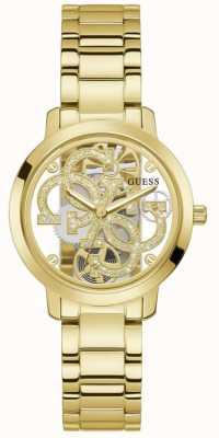 Guess QUATTRO CLEAR Women's Transparent Dial Gold Bracelet GW0300L2