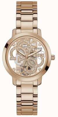 Guess QUATTRO CLEAR Women's Transparent Dial Rose Gold Bracelet Watch GW0300L3
