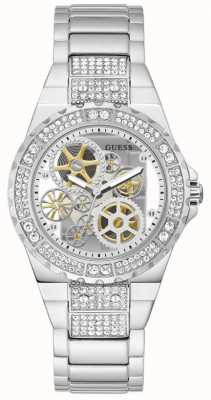 Guess REVEAL Women's Transparent Dial Stainless Steel Watch GW0302L1