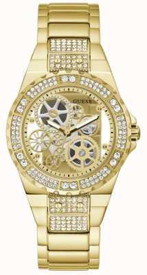 Guess REVEAL Women's Transparent Dial Gold Bracelet Watch GW0302L2