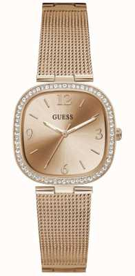 Guess TAPESTRY Women's Square Dial Rose Gold Stainless Steel Bracelet Watch GW0354L3