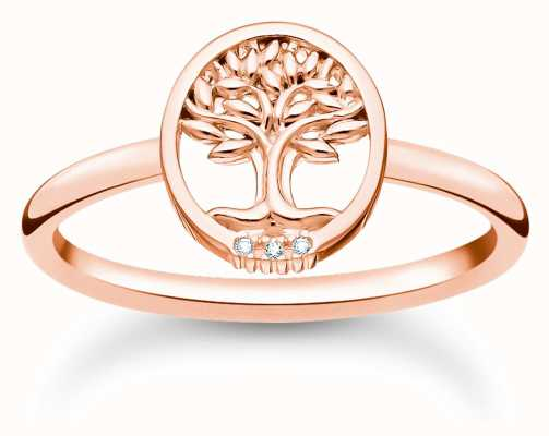 Thomas Sabo Tree of Love Rose Gold Cubic Zirconia Ring TR2375-416-14-54