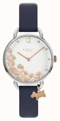 Radley Women's Rose Gold Floral Dial Blue Leather Strap RY21273