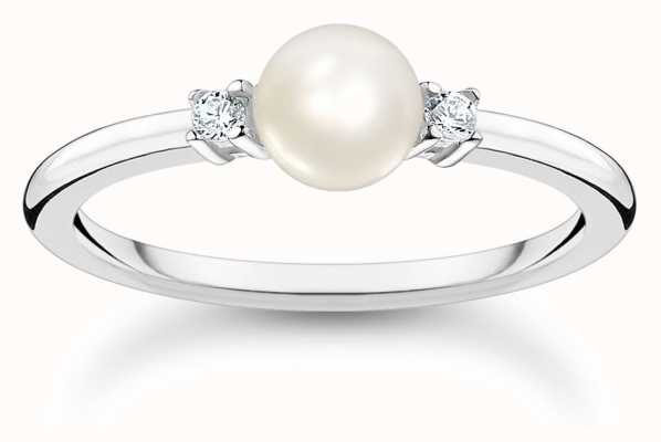 Thomas Sabo Sterling Silver Pearl Cubic Zirconia Ring TR2370-167-14-54