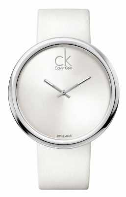 Calvin Klein Subtle Womens White Dial White Leather Strap K0V23120