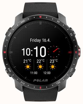 Polar Grit X Pro Black DLC Watch Synthetic Rubber Strap 90085773