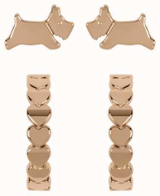 Radley Jewellery Fashion   Rose Gold Plated Sterling Silver Scottie Dog & Hoop Earring Set RYJ1214S