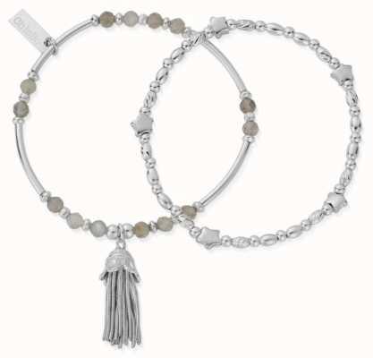 ChloBo Wisdom and Guidance Labradorite Set of Two Silver Bracelets 18cm SBSET2STAR