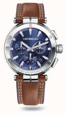 Michel Herbelin Newport Chrono Brown Leather Strap 37658/AP15GON