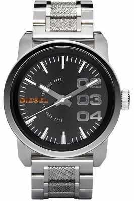 Diesel Mens Black Dial Silver Stainless Steel Watch DZ1370