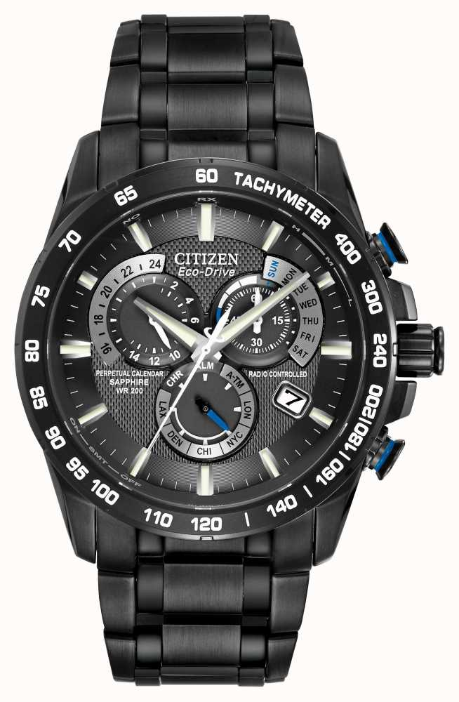 citizen radio controlled perpetual a t chronograph black. Black Bedroom Furniture Sets. Home Design Ideas