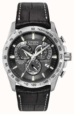 Citizen Men's Radio Controlled Perpetual A-T Chronograph Black Leather AT4000-02E