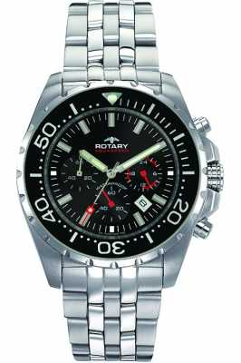 Rotary Men's Aquaspeed Stainless Steel Black Dial Chronograph AGB00013/C/04
