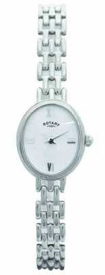 Rotary Womens Oval Silver Bracelet Watch LB20161/07