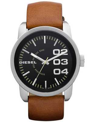Diesel Men's Black Dial Tan Leather Strap DZ1513