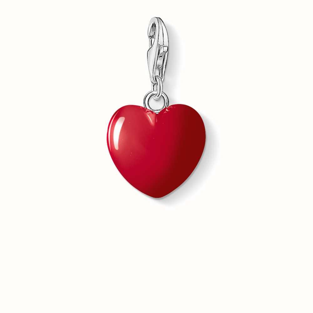 Thomas Sabo Women Charm pendant red heart 925 Sterling Silver, Cold Enamel 0016-007-10