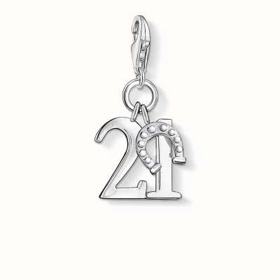 Thomas Sabo Lucky Number 21 Charm 925 Sterling Silver 0460-001-12