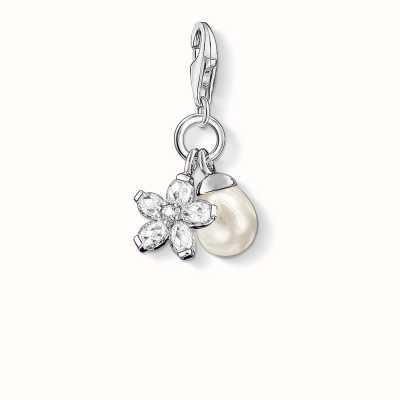 Thomas Sabo Flower Charm White 925 Sterling Silver/ Freshwater Pearl/ Zirconia 0767-167-14
