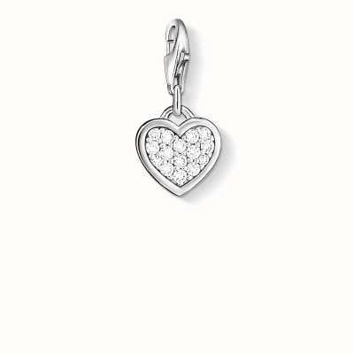 Thomas Sabo Heart Charm White 925 Sterling Silver/ Zirconia 0967-051-14