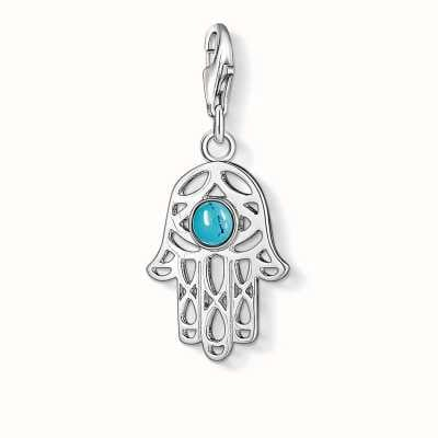 Thomas Sabo Hand Of Fatima Charm Turquoise 925 Sterling Silver/ Simulated Turquoise 1052-404-17