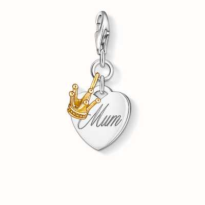Thomas Sabo Mum Charm 925 Sterling Silver Gold Plated Yellow Gold 1060-413-12