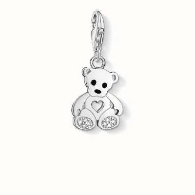 Thomas Sabo Teddy Bear Charm White 925 Sterling Silver Cold Enamel/ Zirconia 1119-041-14