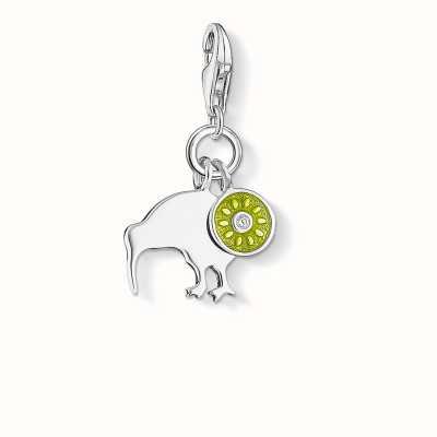 Thomas Sabo Kiwi Charm Green 925 Sterling Silver Cold Enamel/ Zirconia 1190-041-6