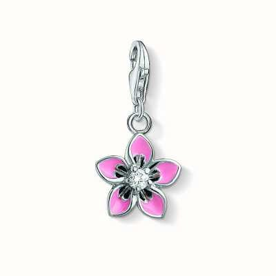 Thomas Sabo Flower Charm Pink 925 Sterling Silver Cold Enamel/ Zirconia 1354-041-9