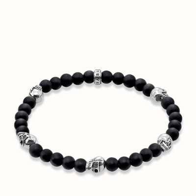 Thomas Sabo Bracelet 20cm Black 925 Sterling Silver/ Obsidian A1097-023-11-XL