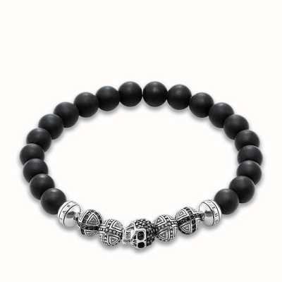 Thomas Sabo Bracelet 20cm Black 925 Sterling Silver/ Obsidian/ Zirconia A1099-159-11-XL