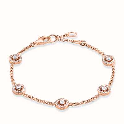 Thomas Sabo Bracelet 16.5/18/19.5cm White 925 Sterling Silver Gold Plated Rose Gold/ Zirconia A1231-416-14