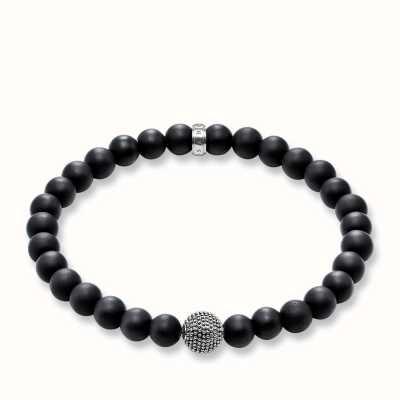 Thomas Sabo Bracelet 20.5cm Black 925 Sterling Silver Blackened/ Obsidian A1354-704-11-L20,5
