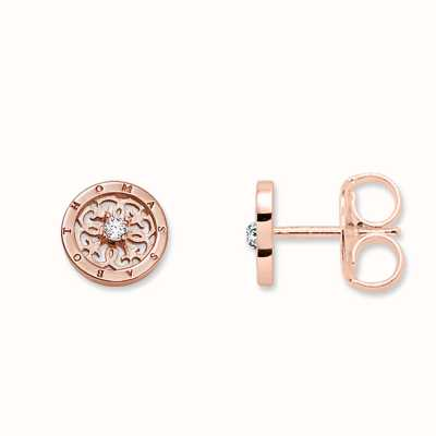 Thomas Sabo Earstuds White 925 Sterling Silver Gold Plated Rose Gold/ Zirconia H1760-416-14